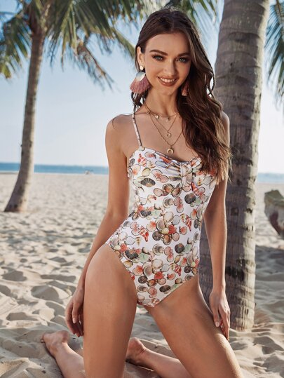 Shell Print One Piece Swimsuit
