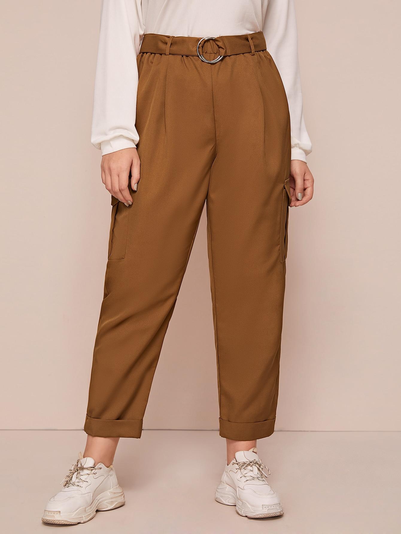 Plus Elastic Waist Flap Pocket Belted Cuffed Pants thumbnail