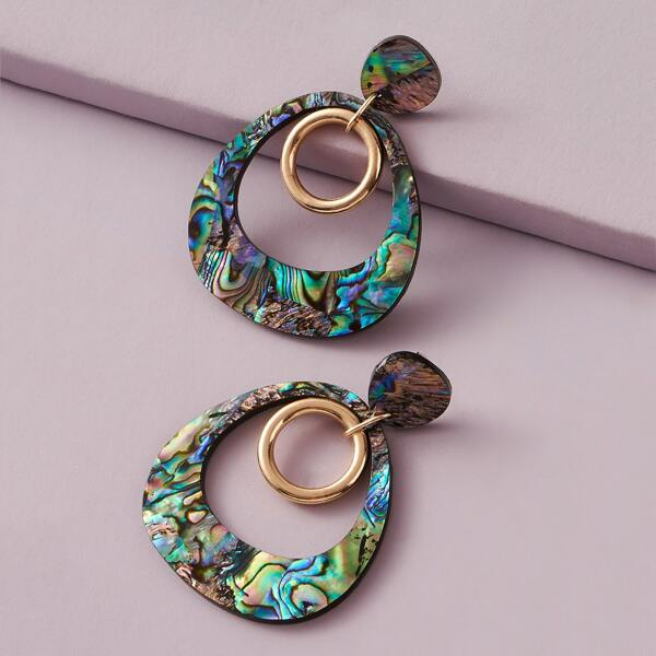 1pair Ring Charm Abalone Pattern Hoop Drop Earrings, Multicolor