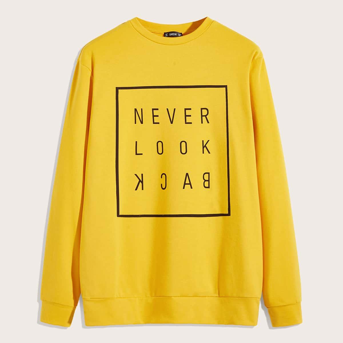 Мужской пуловер с текстовым принтом