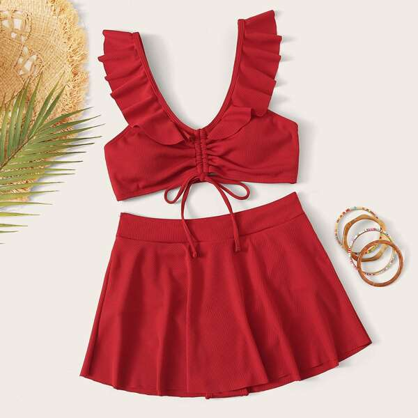 Ruffle Trim Drawstring Top With Skort 2pcs Swimsuit, Red