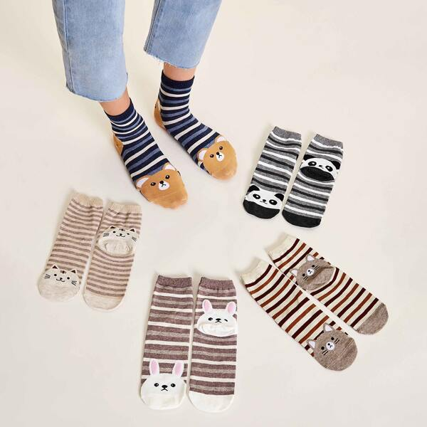 5pairs Striped & Cartoon Graphic Socks, Multicolor