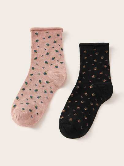 2pairs Ditsy Floral Pattern Socks