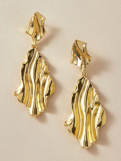 1pair Pleated Metallic Geometric Drop Earrings