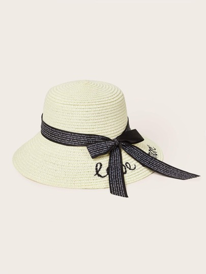 Letter Embroidery & Bow Knot Decor Straw Hat
