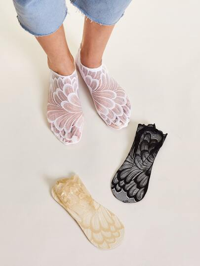 3pairs Lace Mesh Ankle Socks