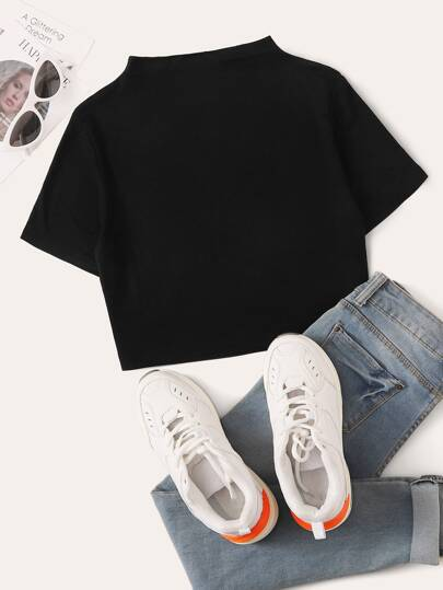Stand Collar Solid Crop Tee