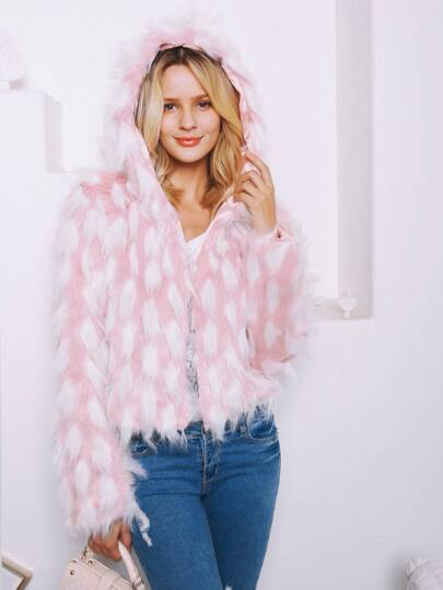 Open Front Faux Fur Hooded Coat