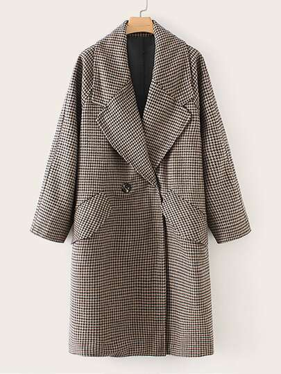 Houndstooth Print Flap Pocket Raglan Sleeve Coat