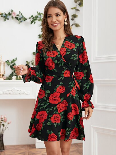 Floral Print Tie Wrap Dress
