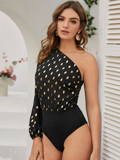 One Shoulder Dot Print Bodysuit