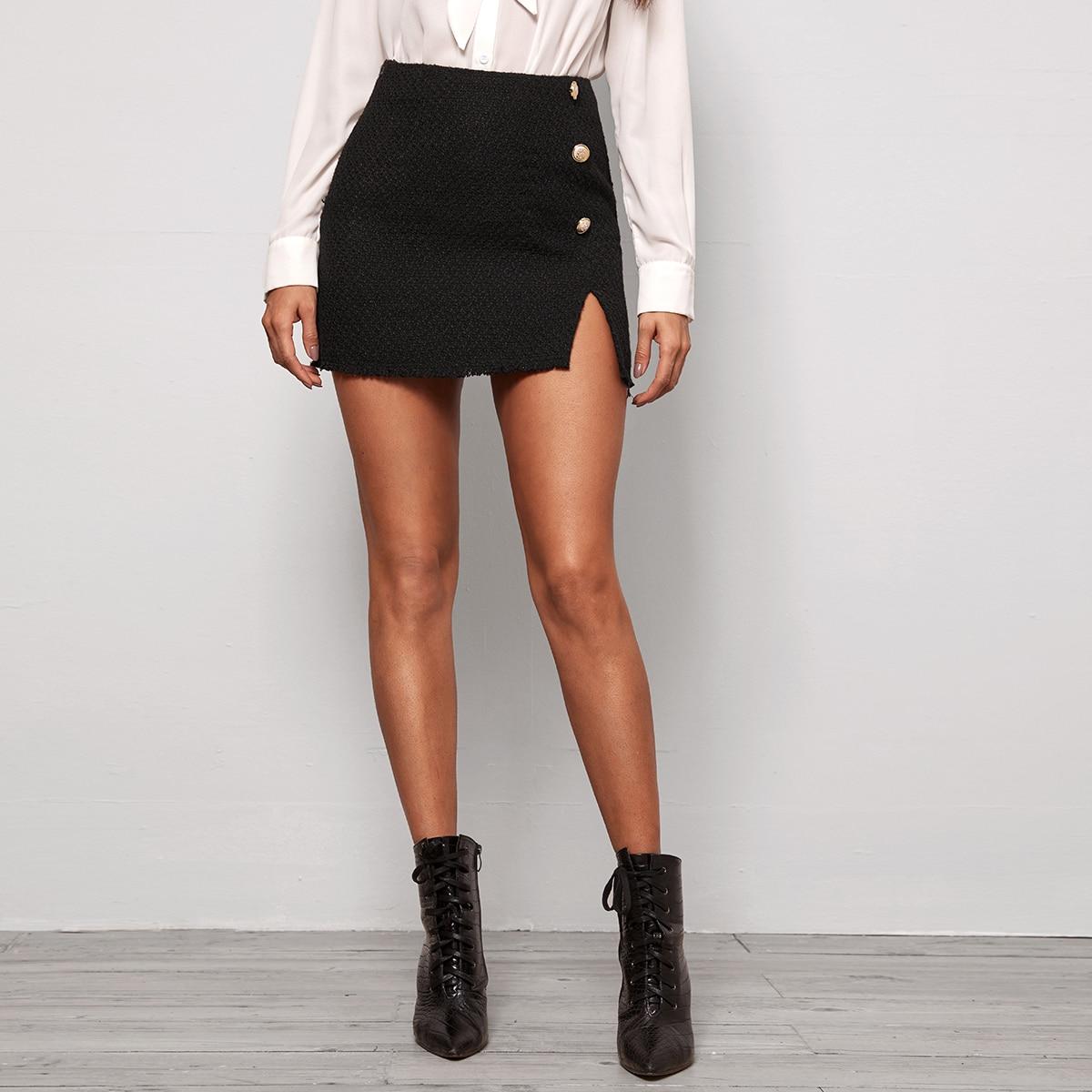 Твидовая юбка с разрезом и пуговицами