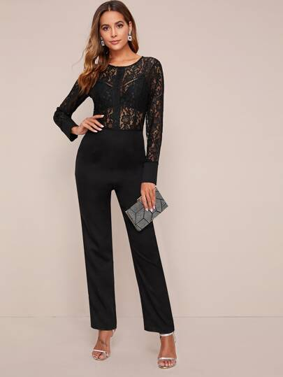 Sheer Lace Bodice Jumpsuit Without Bra