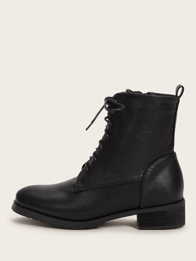 Lace-up Front Block Heeled Combat Boots