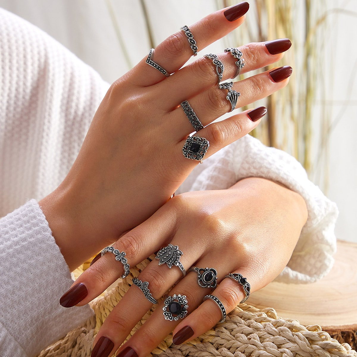 14pcs Bohemian Rings Set