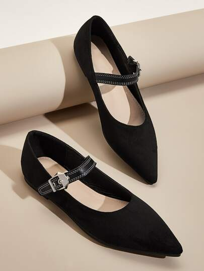 Point Toe Buckle Strap Suede Flats