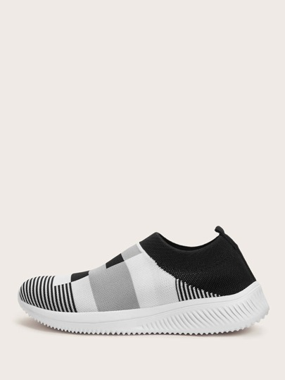 Color Block Striped Slip On Sneakers