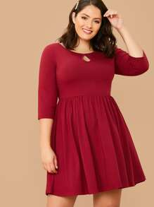 plus keyhole neck fit and flare dress
