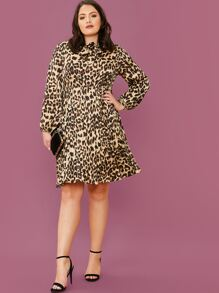 plus tie neck leopard print pleated dress