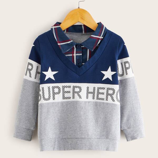 Toddler Boys Cut And Sew Letter Graphic Sweatshirt, Multicolor