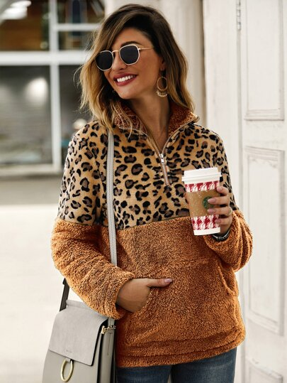 Contrast Leopard Panel Teddy Sweatshirt