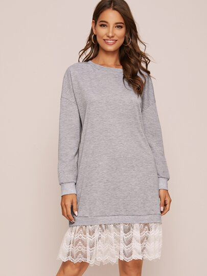 Contrast Lace Hem Sweatshirt Dress