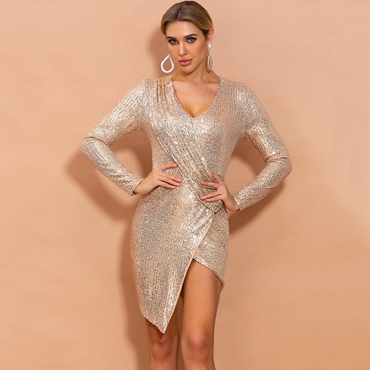 асимметричное блестящее платье на запах