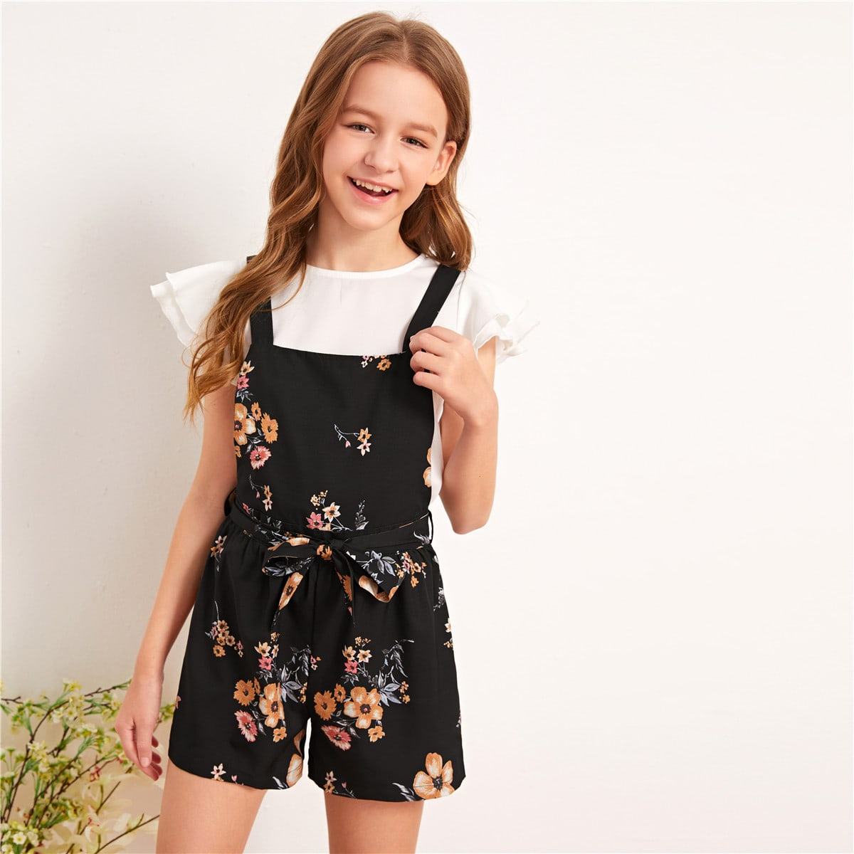 Girls Floral Print Belted Overall Shorts