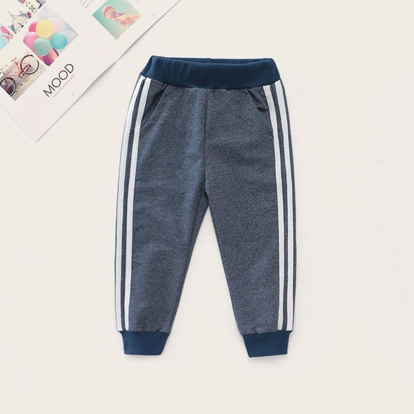 Toddler Boys Side Stripe Contrast Panel Sweatpants, Grey