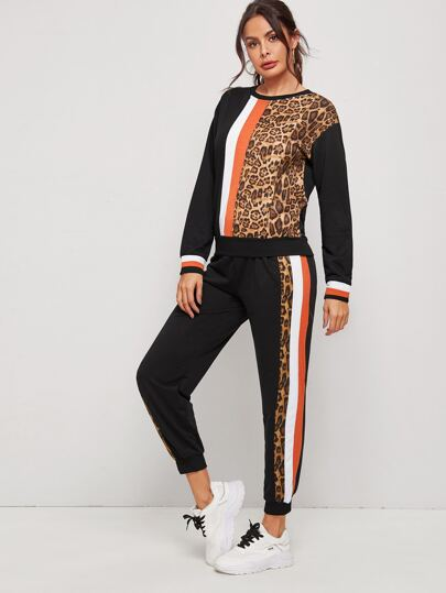 Cut And Sew Leopard Pattern Sweatshirt With Sweatpants