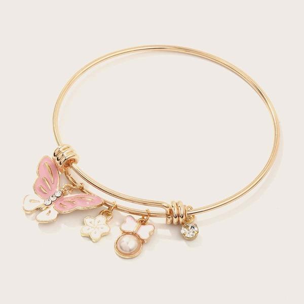 1pc Toddler Girls Rhinestone Decor Butterfly Charm Bangle, Gold