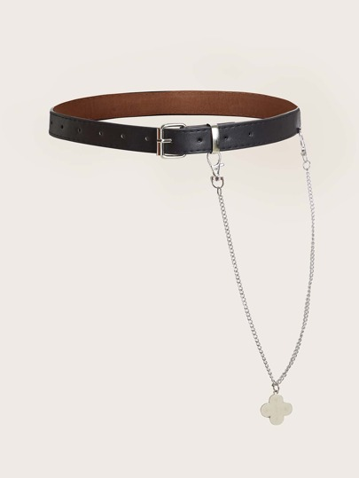 Clover Chain Decor PU Buckle Belt