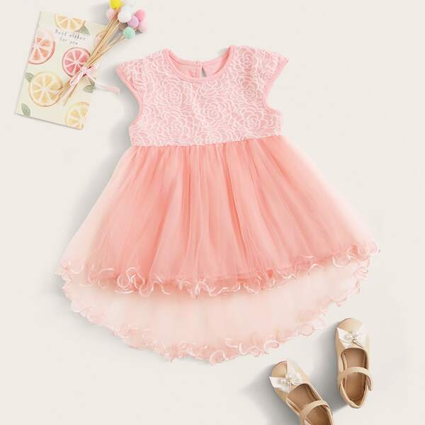 Toddler Girls Lettuce Trim Embroidery High Low Tutu Dress, Pink pastel