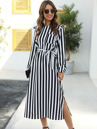 Contrast Striped Ruffle Trim Belted Dress