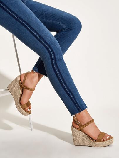 Braided Open Toe Espadrille Wedges
