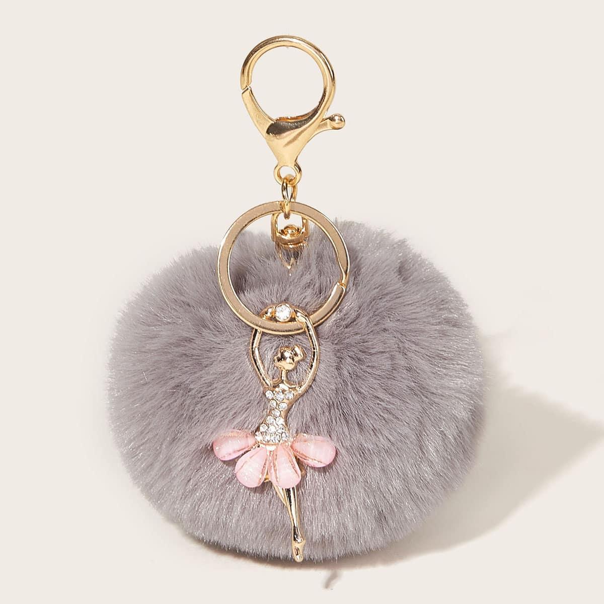 Faux Fur Pom Pom Charm Key Chain