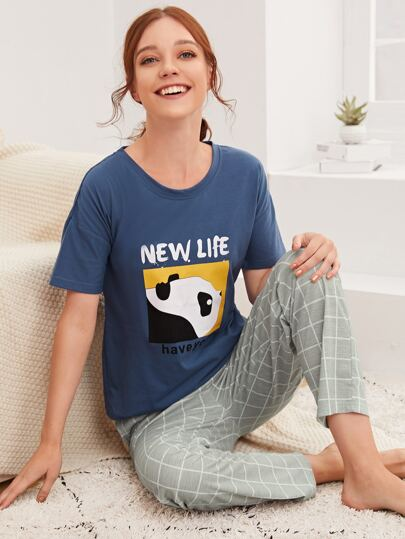 Letter And Cartoon Graphic Tee & Pants PJ Set