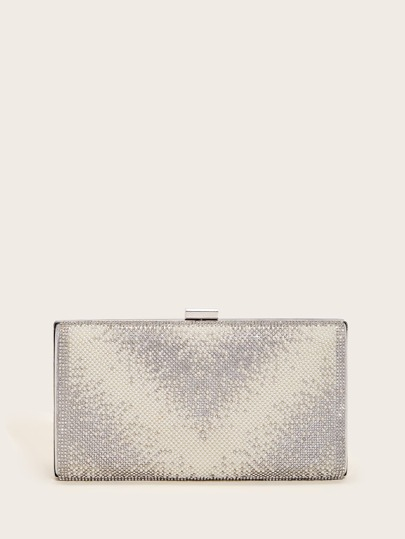 Faux Pearl & Rhinestone Decor Clip Top Clutch Bag