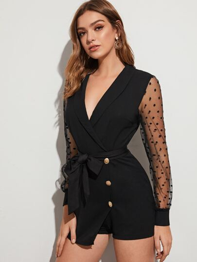 Shawl Neck Belted Contrast Mesh Romper