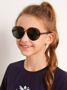 kids rimless round frame sunglasses
