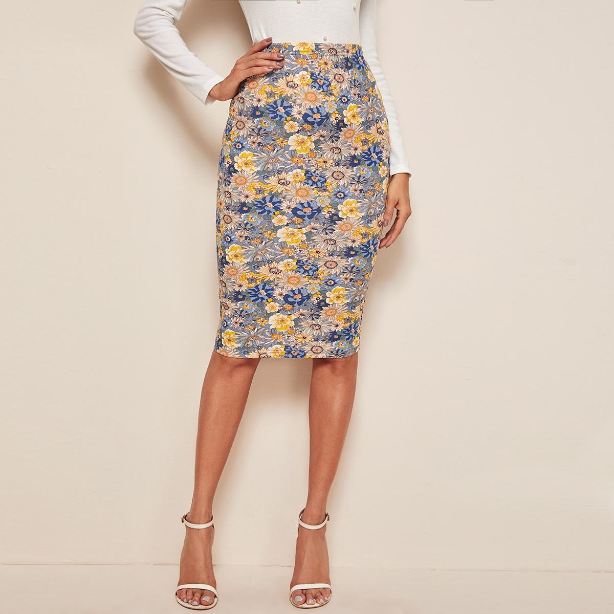Цветочная юбка-карандаш