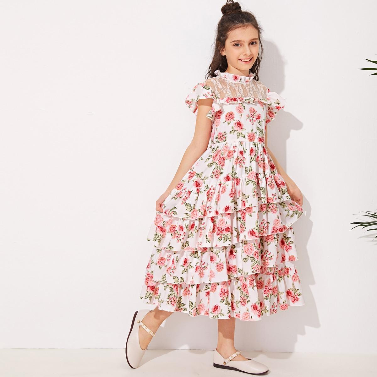 Платье с цветочным принтом, оборками и кружевной отделкой для девочек