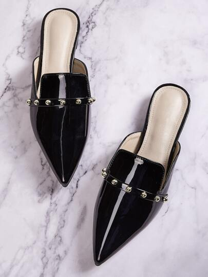 Point Toe Studded Decor Loafers Mules
