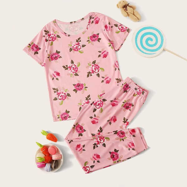 Girls Floral Print PJ Set, Pink