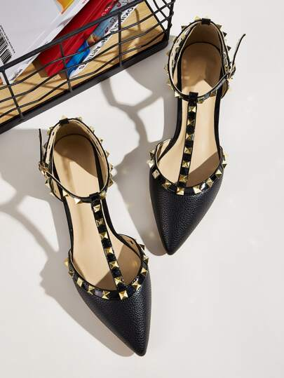 Point Toe Studded Decor Flats