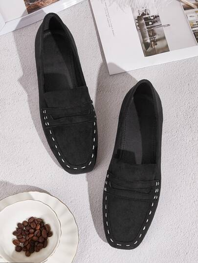 Stitch Detail Penny Loafers