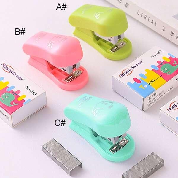 2pcs Cute Mini Stapler & Staples, Multicolor