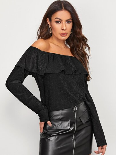 Off Shoulder Ruffle Trim Glitter Tee