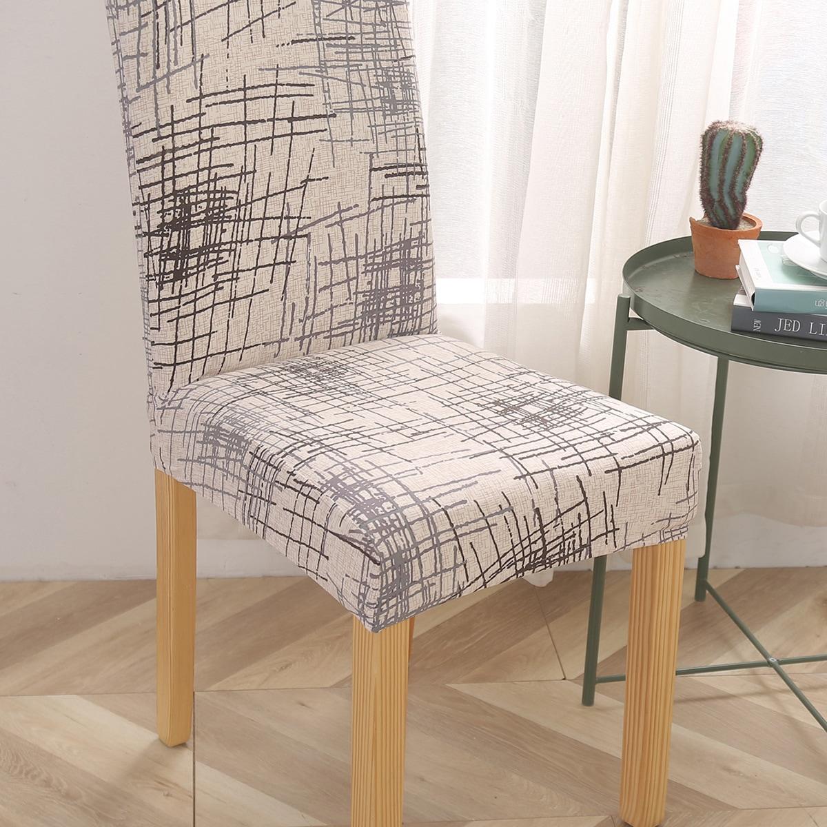 1pc Irregular Line Print Chair Cover