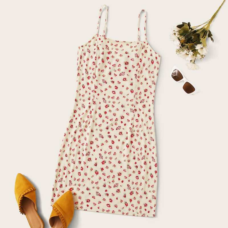 Allover Floral Print Cami Dress, Multicolor